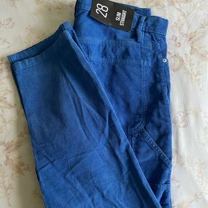 BDG bright blue corduroy slim straight pants 28